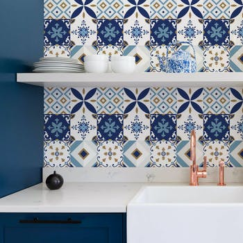 papel de parede lavável azul promocao