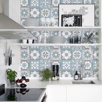 adesivo de azulejo azul