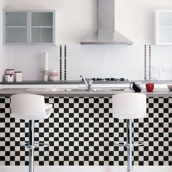 papel de parede para cozinha xadrez preto
