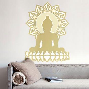 Adesivo de Parede Buddha Amarelo Ouro Unico Normal