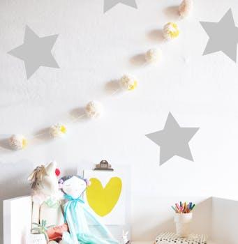 Kit de adesivo de parede estrelas cinza