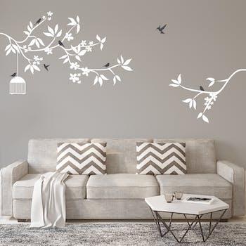 Adesivo de parede Floral Branco