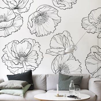 Adesivo de parede Line flowers