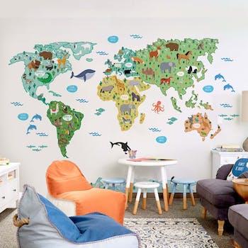 Adesivo de Parede Mapa Mundi Infantil