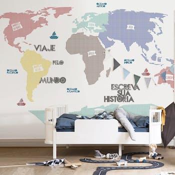 Adesivo de parede mapa mundi infantil xadrez