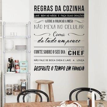 Detalhes Adesivo de Parede Frase Regras da Cozinha