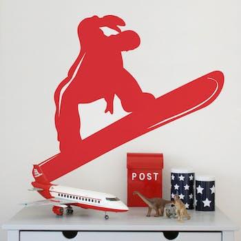 Adesivo de Parede Snowboarding Vermelho Unico Normal
