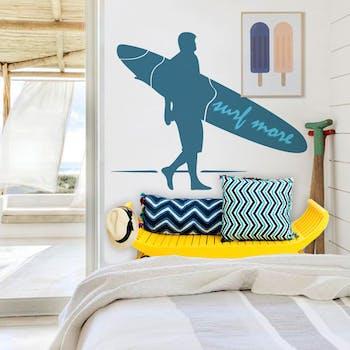 Adesivo de Parede Surf Azul Noturno Unico Normal