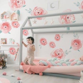 Adesivo de parede Sweet Aqua Roses