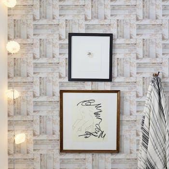 papel de parede branco - Lavável Ripas madeira