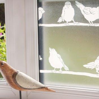 adesivo para janela vidro jateado passaros