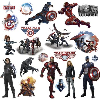 Cartela Adesivos Captain America Civil War Peel and Stick Wall Decals
