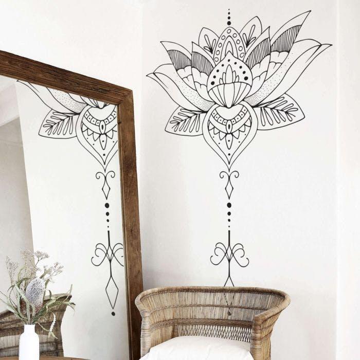 Adesivo De Parede Flor De Lotus Para Decoração Tema Mandalas Grudado