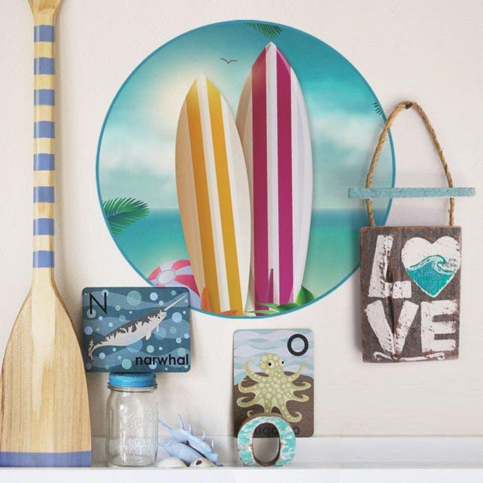 8dc0721f5 Prancha de surf floral em adesivo. Para quem curte um quarto mais ...