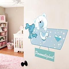 Adesivo de Parede Acessório Porta de Bebê Azul Bebê Unico Normal