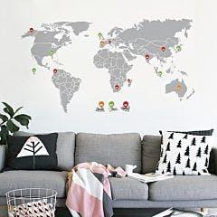 Adesivo de parede Mapa Mundi