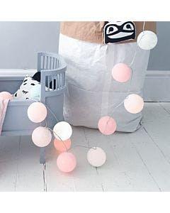 Cordão de luz bola de algodão rosa