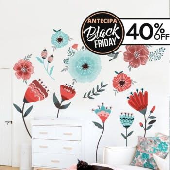 adesivo de parede flores