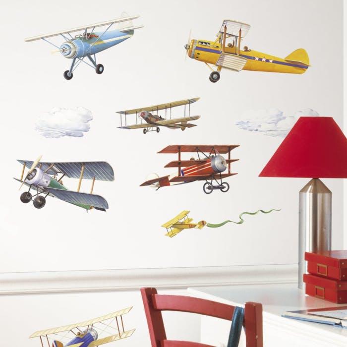 Adesivo Vintage Planes Wall Decals - Aviador Vintage