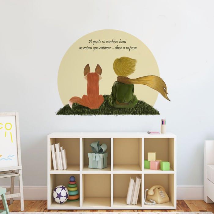Adesivo de parede Pequeno Príncipe e Raposa