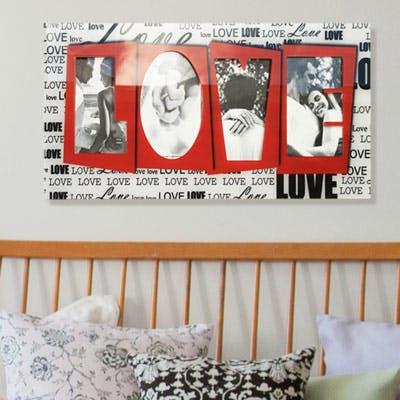 porta retrato de parede love