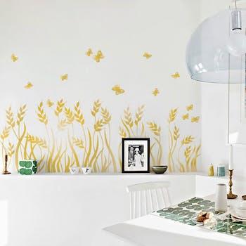 adesivo de parede espigas douradas