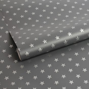 Papel de Parede Estrelas Cinza 2 METROS X 45 CM
