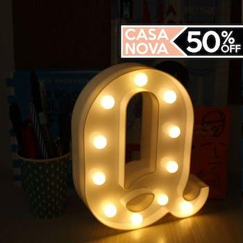 Letra Q Luminária Decorativa