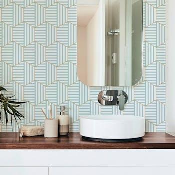 papel de parede adesivo lavável hexagono verde tiffany