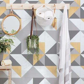 papel de parede adesivo triangulo para banheiro lavável