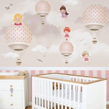 Papel de Parede Infantil Rosa - Balões