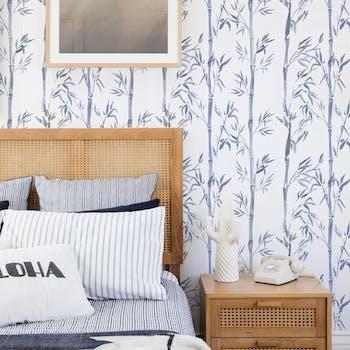 Papel de Parede para Quarto de Casal Azul bambu chines
