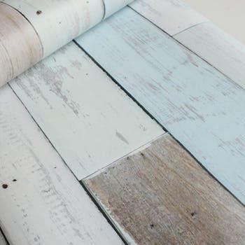 Papel de Parede Azul para Quarto Madeira