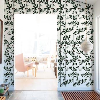 Papel de Parede Verde para Sala Floral
