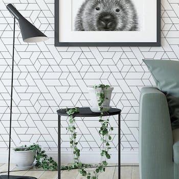 Papel de Parede Preto e Branco Geométrico