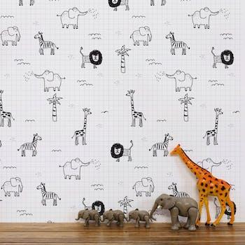 Papel de Parede Infantil Safari Preto e Branco