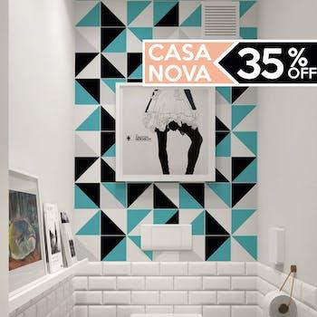 papel de parede para banheiro azul e preto